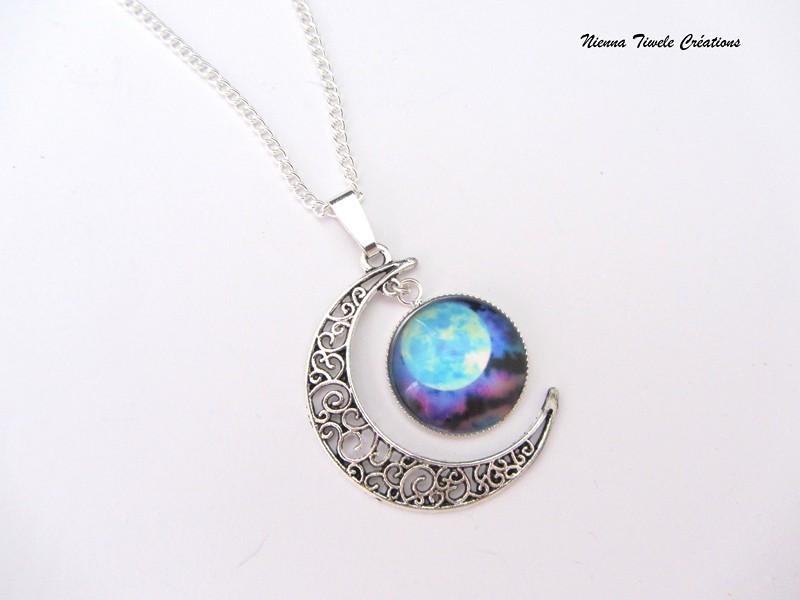 collier lune et pierre